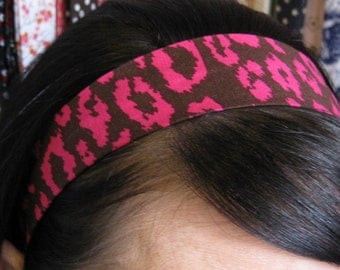 Brown and Hot Pink Leopard Print Stay Put Headband
