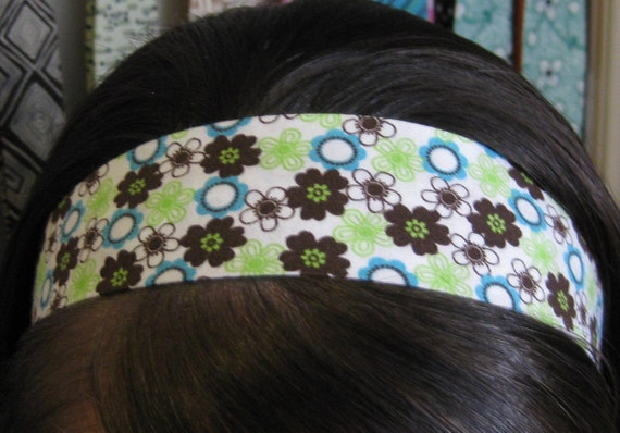 White w/ Lime Green, Brown, and Teal Blue Flowers on Stay Put Headband