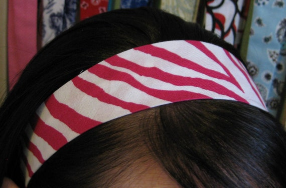White and Hot Pink Zebra Print Stay Put Headband