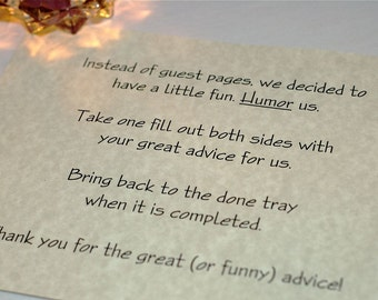 Wedding Guest Book Pages - 50 copies