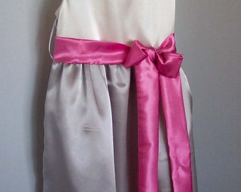 Custom Made for You - Beautiful Grey and Cream Flower Girl Dress with Pink Sash