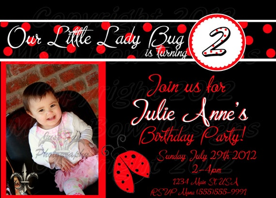 Lady Bug Picture Personalized Printable Birthday Invitation and Thank you Set