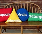 Primary Color Shape Pillows - Shape Pillows - Circle, Square, Rectangle, and Triangle