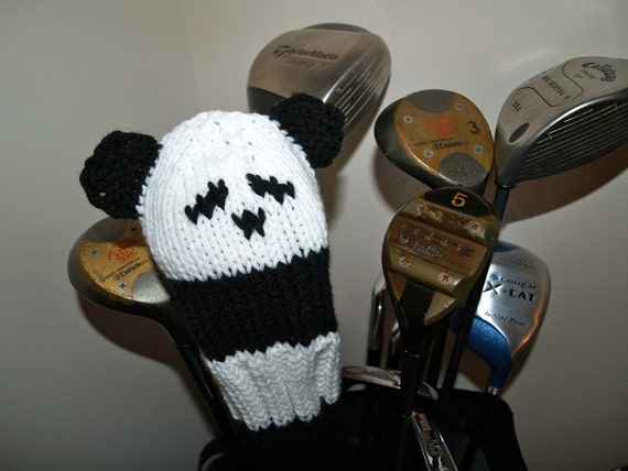 Panda, Bear, Golf Club Cover, Golf Headcover, Golf Head Cover, Golf Gift, Gifts for Men, Gifts for Women, Animal, Knit, Crochet