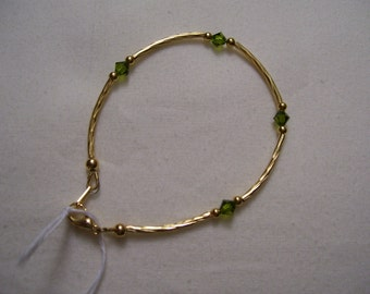 Olivine and Gold Bracelet and Earrings
