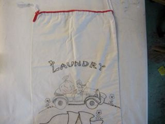 """Vintage Embroidered Laundry Bag,  from the 1930""""s"""