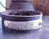 Love bracelet - Hand stamped silver flatware leather cuff