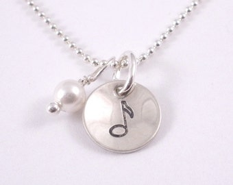 hand stamped musical note sterling silver charm with pearl necklace on sterling ball chain