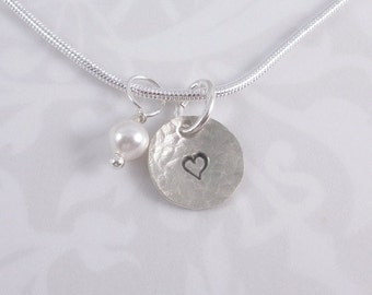 hand stamped heart sterling silver charm with pearl necklace