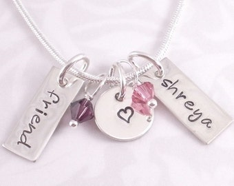 Personalized Friend Necklace with heart charm and beads