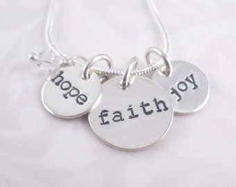 Hand stamped Sterling Silver Charm Necklace with Crystal Bead