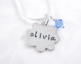 Personalized Hand Stamped Name Necklace with birthstone bead