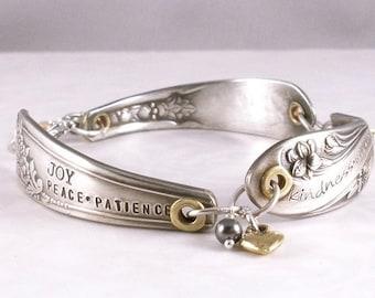 Vintage Silver Flatware Bracelet - Hand Stamped - Fruit of the Spirit