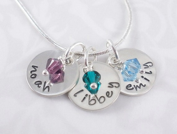Mom's Necklace - hand stamped sterling silver with 3 names