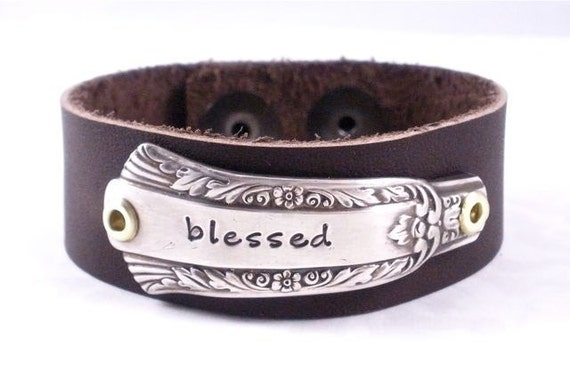 Blessed bracelet - Hand stamped silver flatware leather cuff