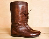 Vintage cropped riding boots 7 - 7.5. Buttery chestnut Italian leather. 1980's Van Eli.