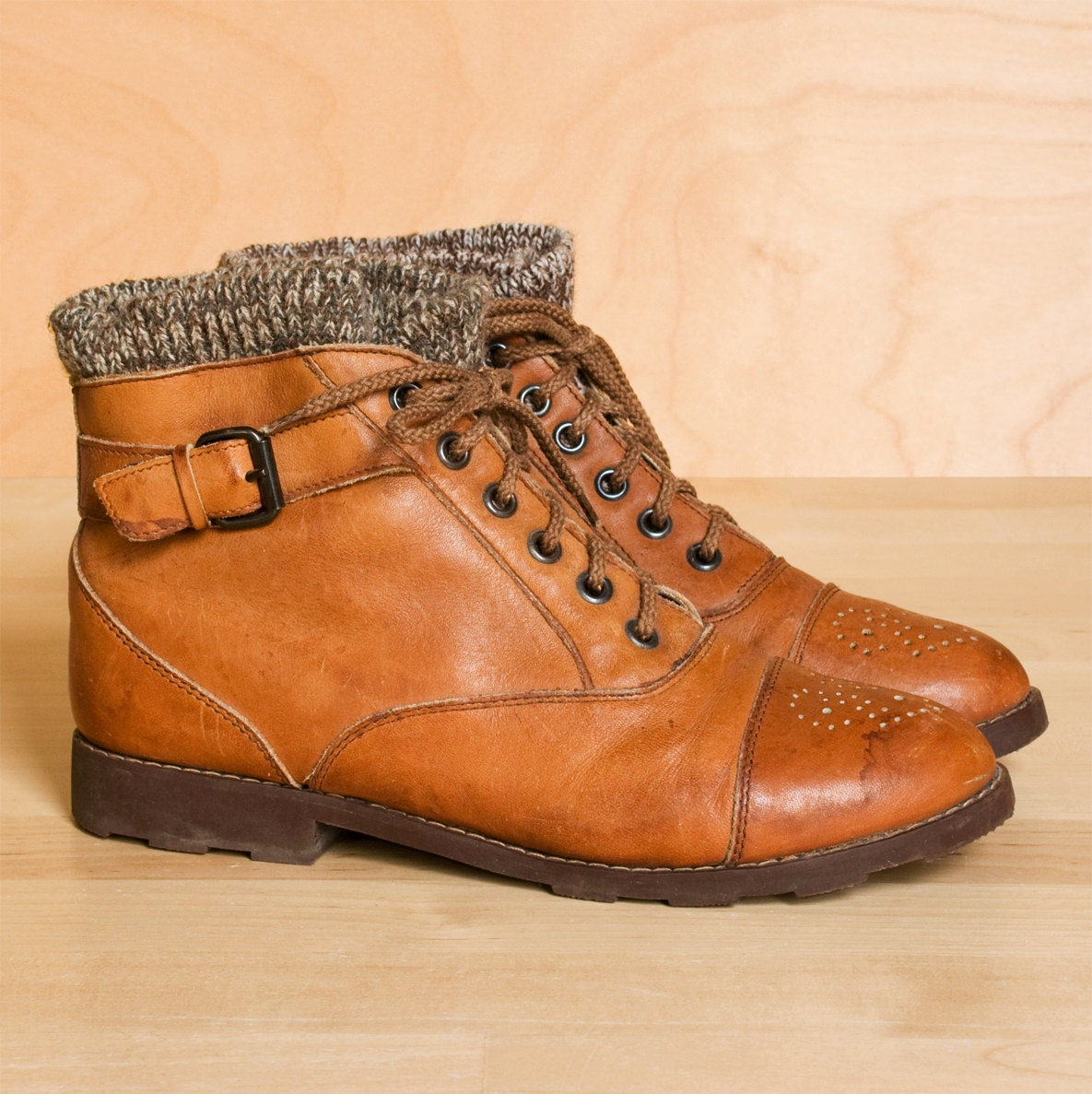 ankle boots 6 5 5 vintage sweater cuff leather by