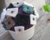 Scrappy Little Pieces - Pin Cushion  - A Study in Tin 8 - Recycled Felted Wool