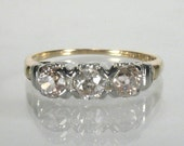 Antique Old European Cut Three Stone Diamond Engagement Wedding Ring