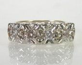Retro Vintage Diamond Wedding Ring - 14K Yellow and White Gold