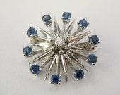 Cool Vintage Diamond and Sapphire Pin