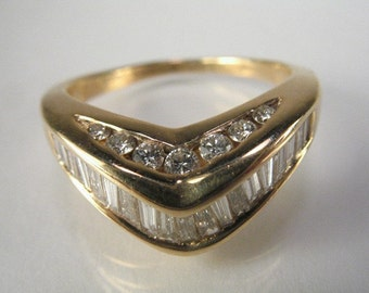Vintage Diamond Wedding Band - Baguette and Round Diamond 1.45 Carat Total Weight - Appraisal Included