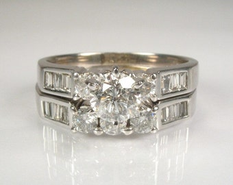 Vintage Wedding Ring Set - 1.87 Carat Total Weight - Appraisal Included 6050.00 USD