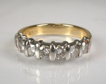 Vintage Diamond Wedding Ring - 18K Yellow Gold and Platinum - 0.71 Carats - Appraisal Included