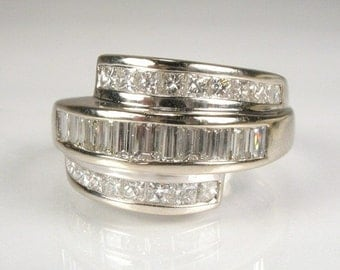 Glamorous Princess and Baguette Diamond Ring - 1.25 Carat Total Weight - Appraisal Included