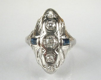 Antique Old European Cut Diamond and Sapphire Ring - 18K White Gold - 0.33 Carat Diamond Total Weight