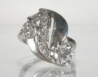 Vintage Diamond Cocktail RIng - Glamorous 1950's-1960's Era Diamond Cocktail Ring - 0.45 Carat Total Weight - Petit Size 4