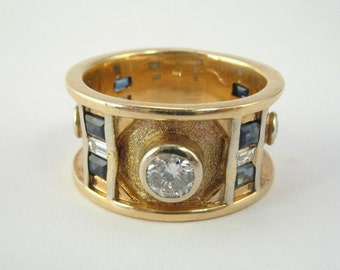 Vintage Diamond Ring With Synthetic Sapphires  - 0.50 Carat Diamond Total Weight - Designer Style