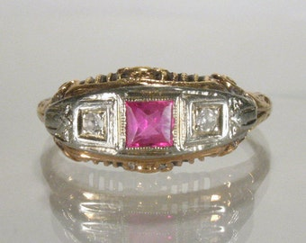 "Antique Diamond and Synthetic ""Ruby"" Ring"