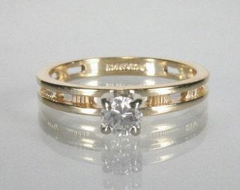 Vintage Modern Style Diamond Solitaire Engagement Ring - 0.23 Carat - Vintage Estate