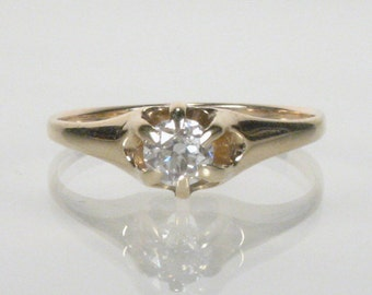 Antique European Cut Diamond Engagement Ring - 0.27 Carats