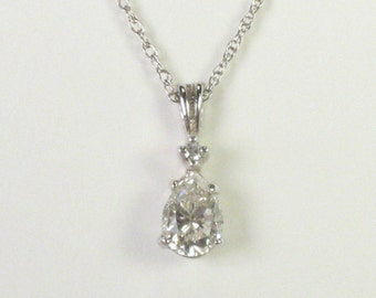 Pear Shape Diamond Pendant - 1.06 Carats - Vintage  Mounting - Appraisal Included