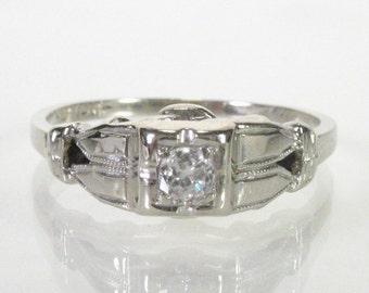 Antique Diamond Engagement Ring - 1940s Era - Retro - 14K White Gold