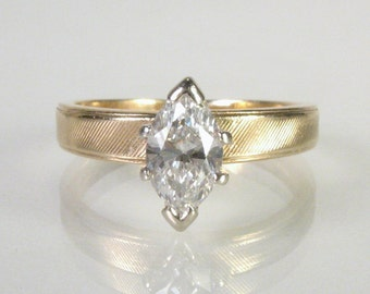 Vintage Marquise Diamond Engagement Ring - 0.55 Carats
