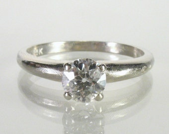 European Cut Diamond Engagement Ring - 0.54 Carat - Mid Century Solitaire Diamond Ring