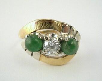 """Vintage Diamond and """"Jade"""" Cabachon Cocktail Ring - 0.27 Carat Diamond"""