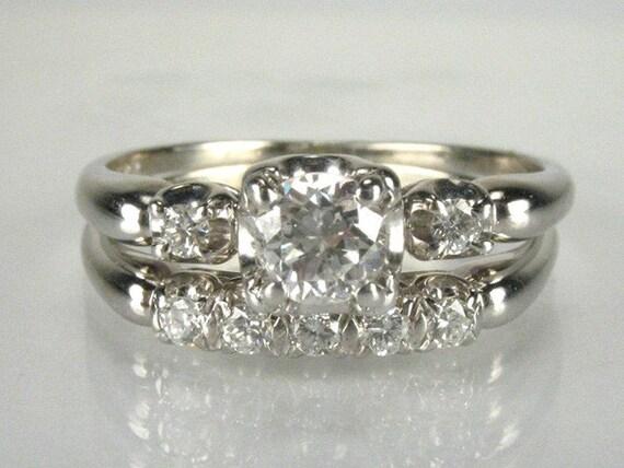 Antique Granat Bros. Diamond Wedding Set - 0.60 Carat Total Weight - 18K White Gold