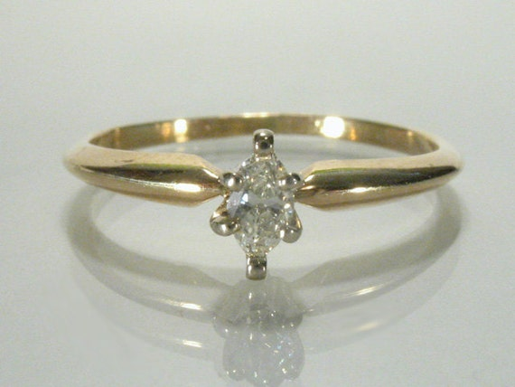 Sweet Vintage Marquise Cut Diamond Solitaire Engagement Ring