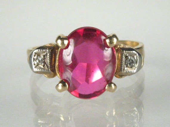 FREE SHIPPING - Antique Synthetic Cabachon Ruby And Diamond Ring