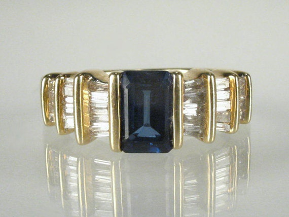 Vintage Diamond and Synthetic Sapphire Estate Ring