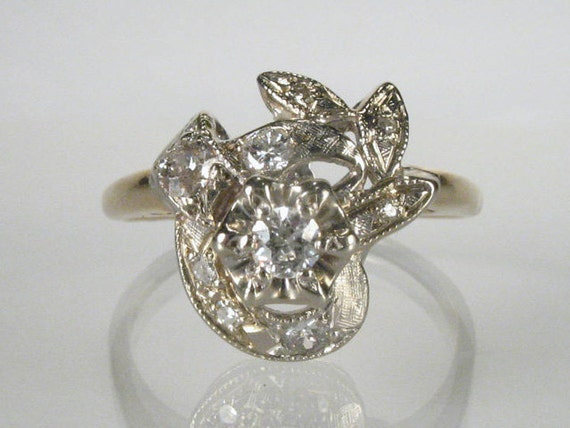 Lovely Vintage Old European Cut Diamond Cocktail Ring - 0.32 Carat Total Weight