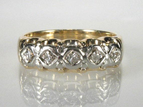 Womens Vintage Single Cut Diamond Wedding Ring - Two Tone 14K Gold