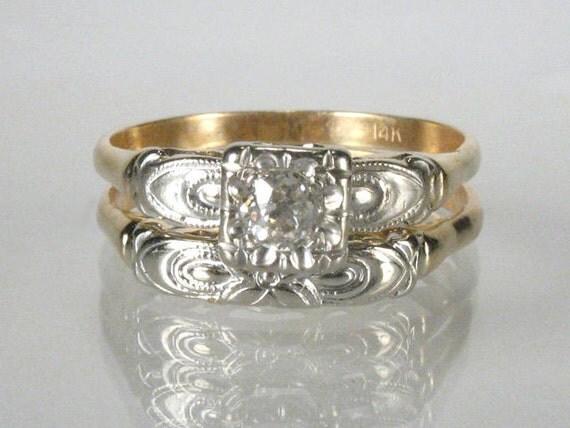 Retro Old European Cut Diamond Wedding Rings Set