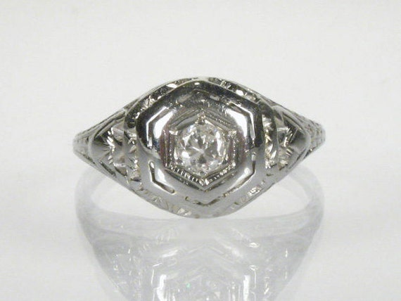Antique Old European Cut Diamond Engagement Ring - 18K White Gold