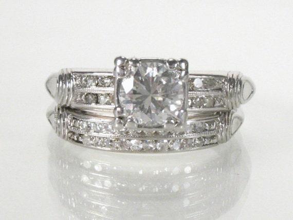Antique Diamond Platinum Wedding Set - 0.80 Carat Diamonds