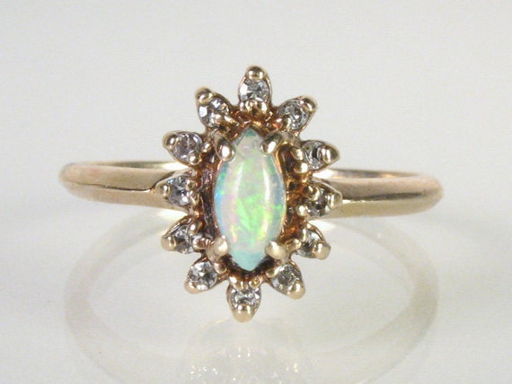 Opal Diamond Ring - 10K Yellow Gold